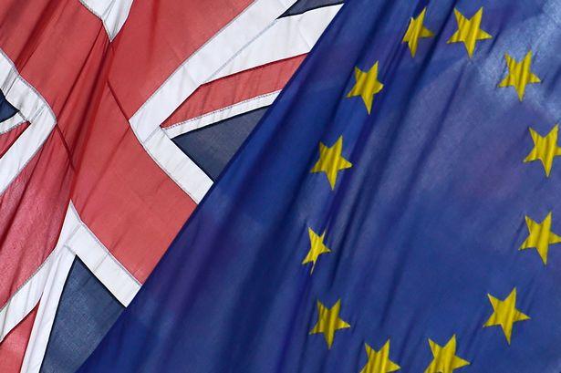 The-British-Union-flag-and-European-Union-flag